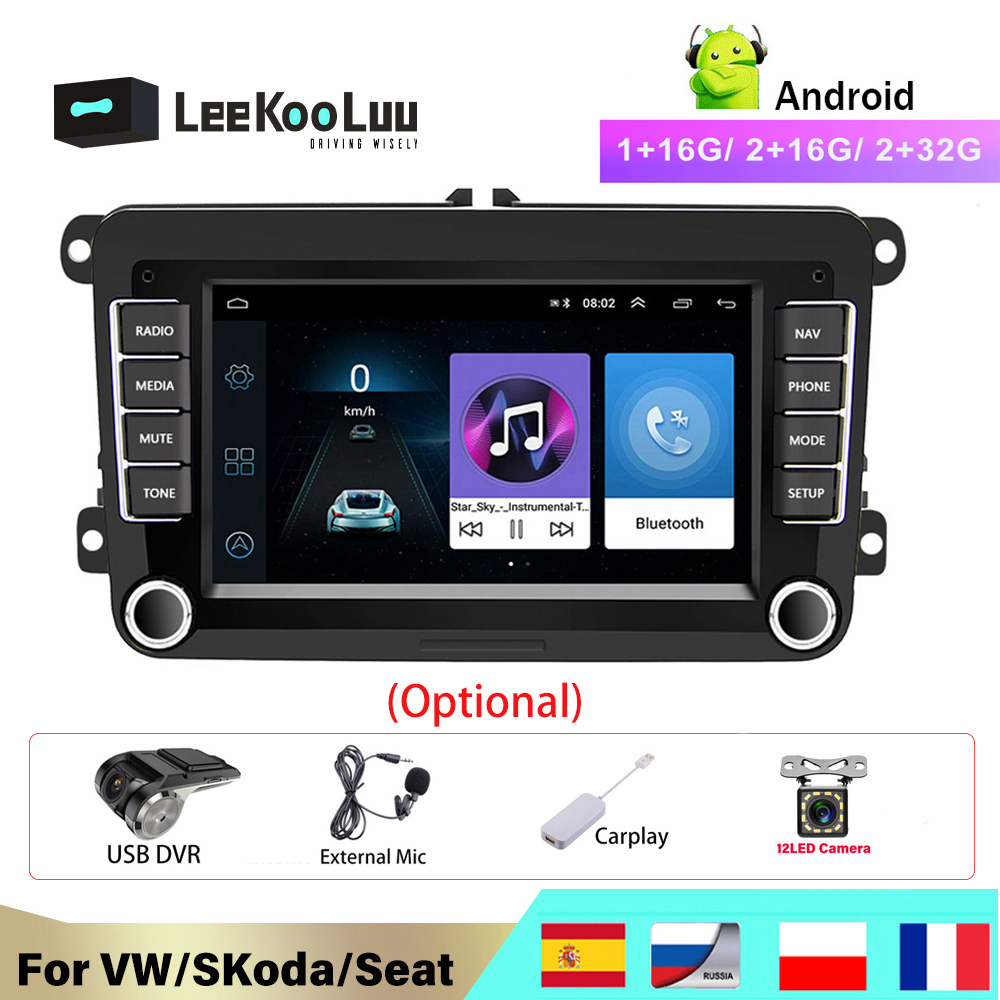 LeeKooLuu-Radio de coche Android 2 Din, compatible con Volkswagen, Golf, Touran, Passat, B6, Polo, Jetta, Skoda Octavia