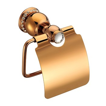 Luxury Rose gold brass wity crystal Paper holder toilet tissue roll holder wall mounted