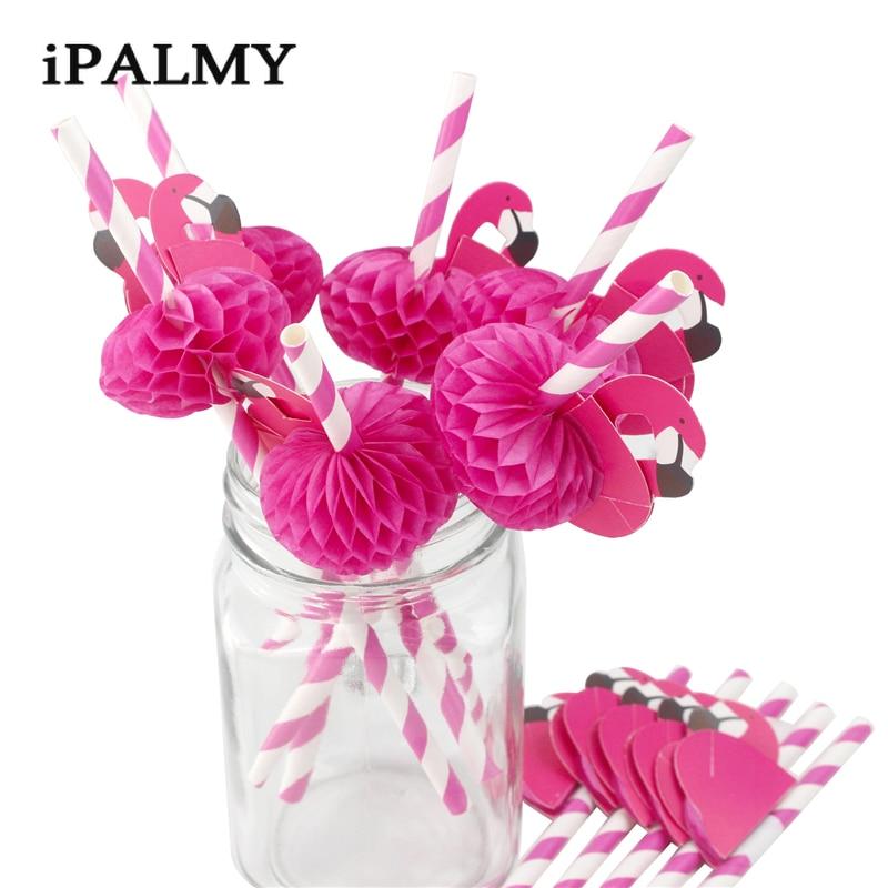 200pcs Pink Flamingo Decorative Cocktail Paper Straws Hawaiian Party Favor Partners Drinks Supply Kids Birthday Striped
