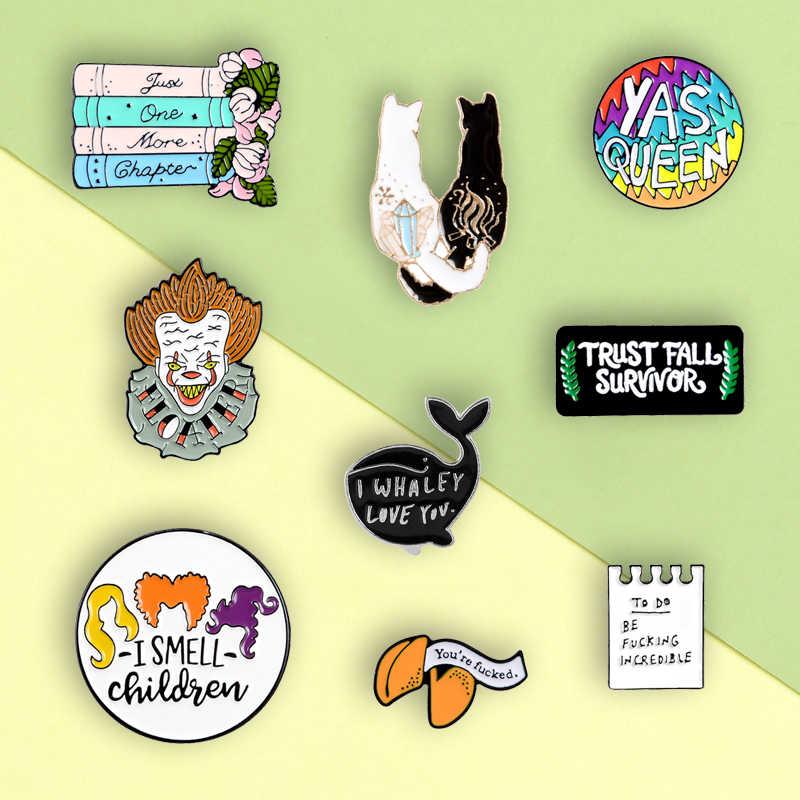Kartun Fashion Pin Pasangan Kucing Badut Pesan Whale Enamel Mash Up Bros Lencana Pakaian Kerah Pin Perhiasan Hadiah untuk teman