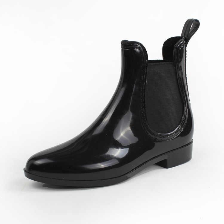 ยางใหม่สำหรับสุภาพสตรี PVC Rain BOOTS กันน้ำ Trendy Jelly ผู้หญิง BOOT แถบยืดหยุ่น Rainy รองเท้าผู้หญิง 2019