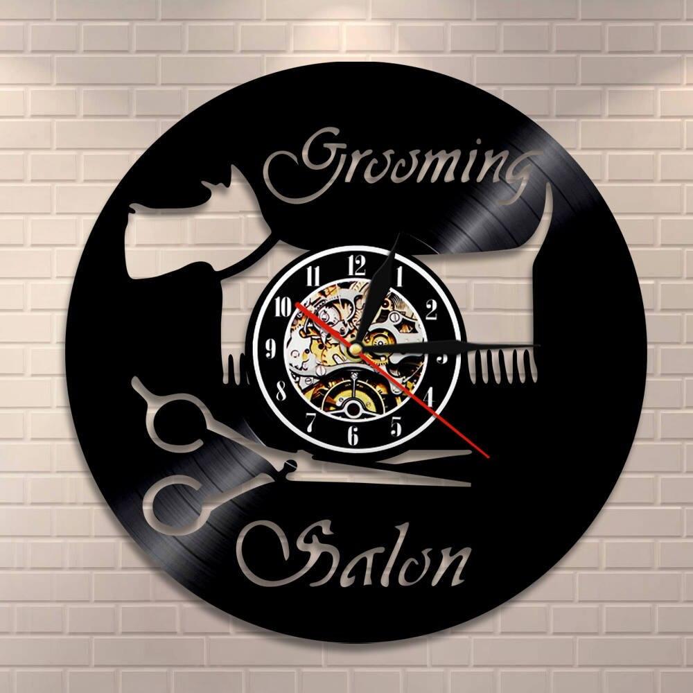 Groomer Scissor Home Decor Wall Clock Pet Grooming Vinyl Record Clock Wall Watch Puppy Shop Salon Wall Sign Vintage Art Clock