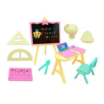 Set de 11 unidades de accesorios para muñeca princesa Barbies, pizarra, mesa, silla pequeña, ordenador, niña, juguete de regalo para niños, 2020