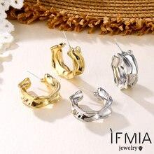 Женские серьги гвоздики ifmia винтажные сережки золотистого