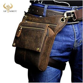 Crazy horse leather men multifunction design pequeno saco do mensageiro moda cinto de viagem pacote cintura gota perna bolsa masculino 211-4-d 1
