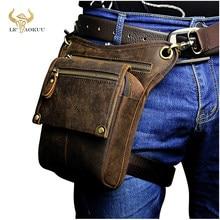 Crazy horse leather men multifunction design pequeno saco do mensageiro moda cinto de viagem pacote cintura gota perna bolsa masculino 211-4-d