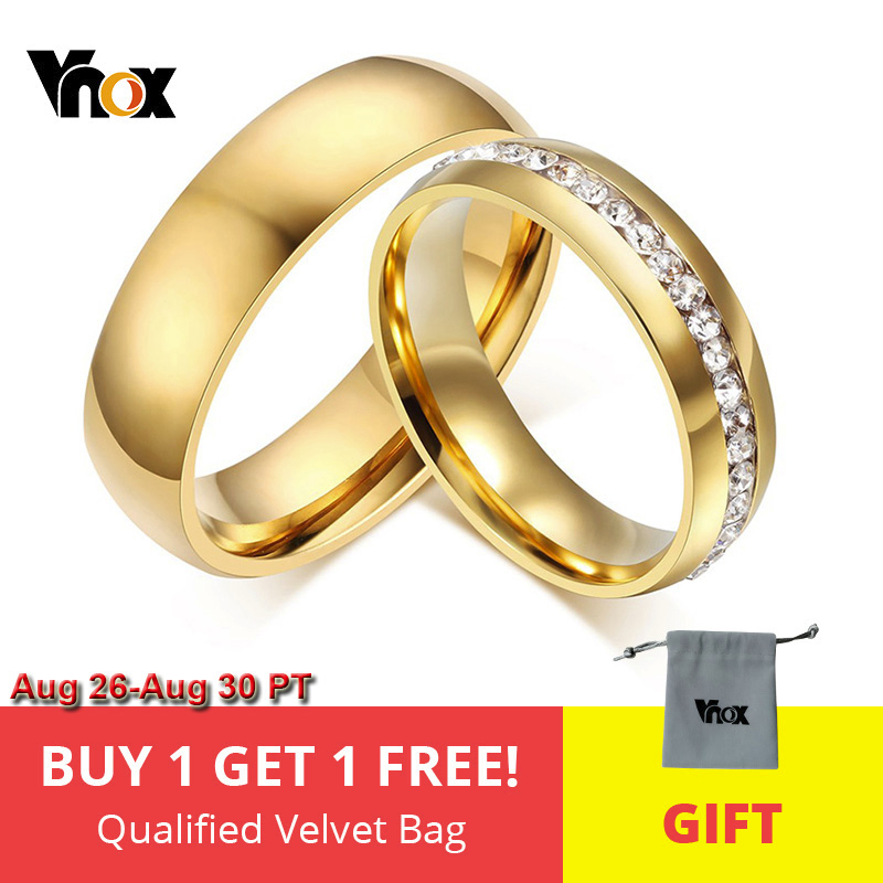 Vnox Ring for Jewelry Engagement-Ring Wedding-Bands Gift Anniversary Stainless-Steel