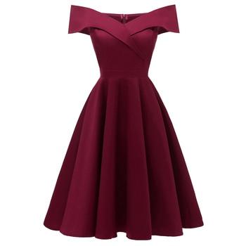 цена на Simple Burgundy Cocktail Dress Cheap Off The Shoulder Short Sleeves Graduation Party Dress Elegant Fashion Cocktail Dress 2020