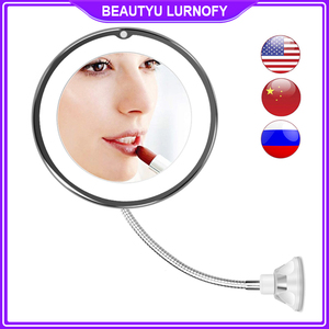 Dropshipping LED Mirror Flexible Makeup Mirror with Led Light Vanity Mirrors 10X Magnifying Mirrors Light Cosmetic Miroir