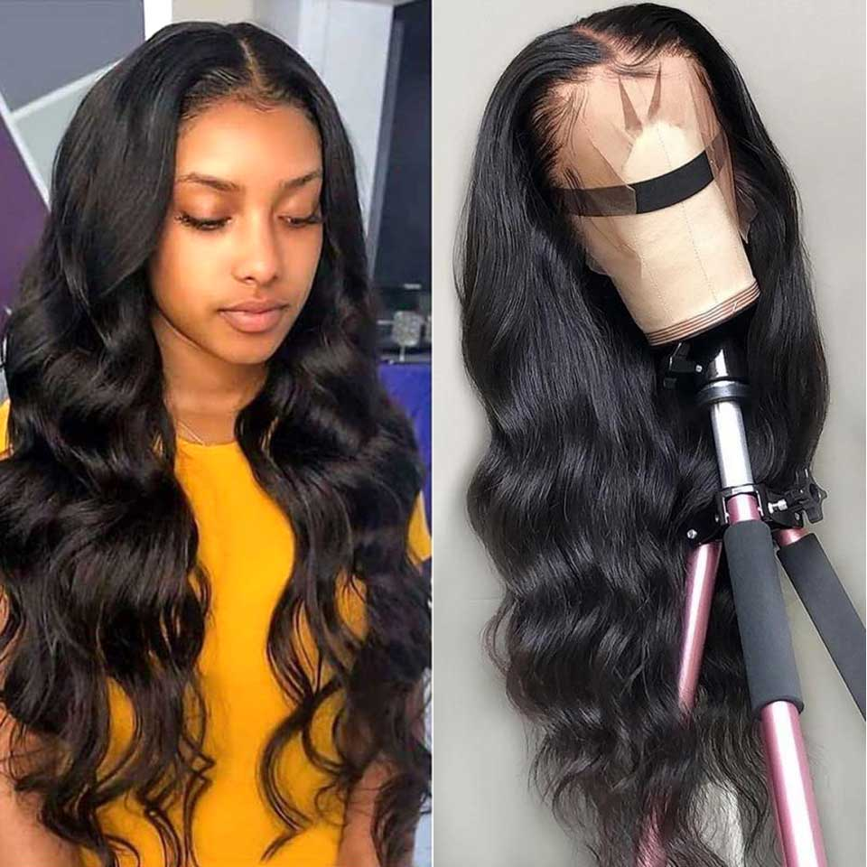 13*4 Lace Front Human Hair Wigs 150% 180% 200% Density Non-Remy Pre Plucked Brazilian Body Wave Lace Front Wig For Black Women