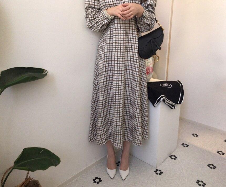 Hcd410c733d824ed287a5da68d9f43ebfY - Autumn V-Neck Puff Sleeves Slim Plaid Midi Dress
