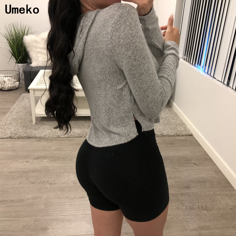 Umeko Fall Women Fashion Solid Crop Top Women Hooded Casual sexy Long Sleeve Sweatshirts Female Loose Tops Clothes Autumn Spring