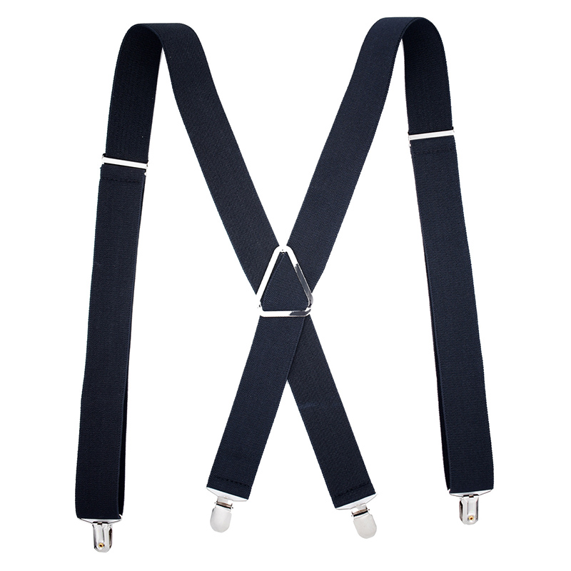 New Fashion Men's Trousers Strap Casual Solid Color Men's Pants Strap With 4 Clips Elastic Adjustable Pants Suspenders