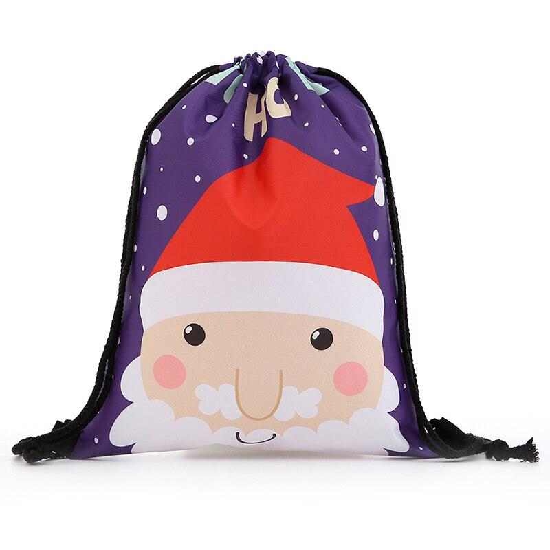 Backpack Bags Fashion Women Mini Drawstring Christmas Backpack 3D Printing Travel Softback Bags Men Drawstring Bag Female New