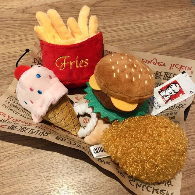 4/7PC SET Hamburger Plush Soft Stuffed Dog ToysSqueaky French fries Shape Chew Bite Resistant Toy for Dogs Pet Toys Accessories 1