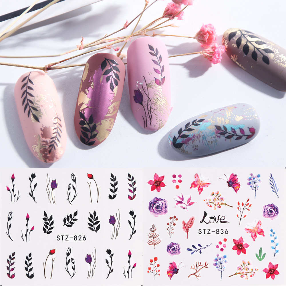 1pcs Water Nail Stickers Decal Black Flowers Leaf Transfer Nail Art Decorations Slider Manicure Watermark Foil Tips LASTZ808-844