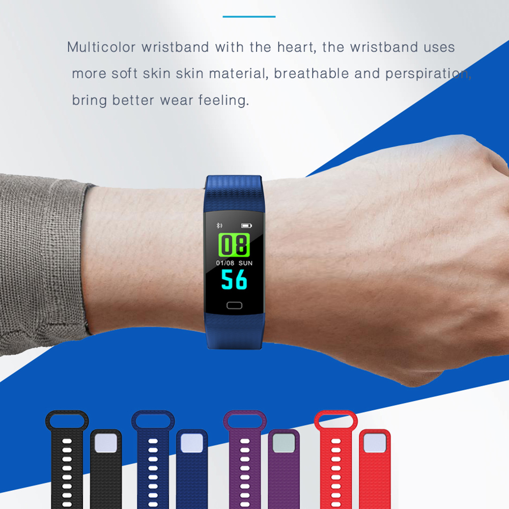 sale Smart Bracelet Stopwatch Sports Heart Rate Sensor IP65 OLED Bluetooth Smart Bracelet Heart Rate Monitor Watch Color Screen