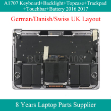 Echte Duitse Deense Zwitserse Eu Uk Layout Keyboard Voor Macbook Pro A1706 Topcase Toetsenbord Backlight Trackpad Touchbar Batterij