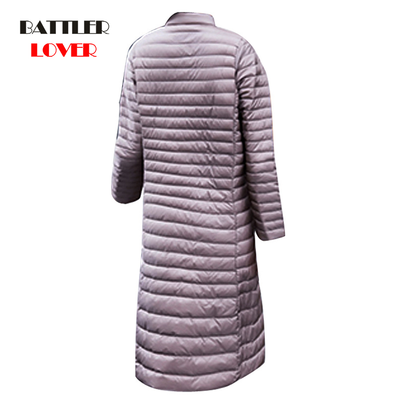 Women's Winter X-Long Ultra Light Down Coat Women Plus Size 3XL Jacket Lady Autumn Vintage Slim Thin Casual Black Coat Female