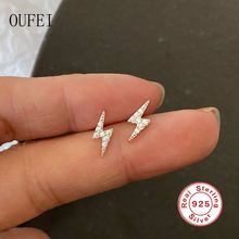 Yıldırım basit düğme küpe 100% 925 ayar gümüş moda Pavé kristal kadın küpe öğrenci kız aksesuarları güzel takı