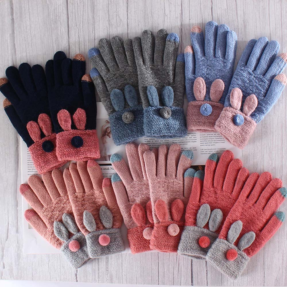1 Pair Cute Rabbit Ear Knitted Gloves Touch Screen Women Gloves Thicken Winter Warm Gloves Full Finger Soft Stretch Knit Mittens