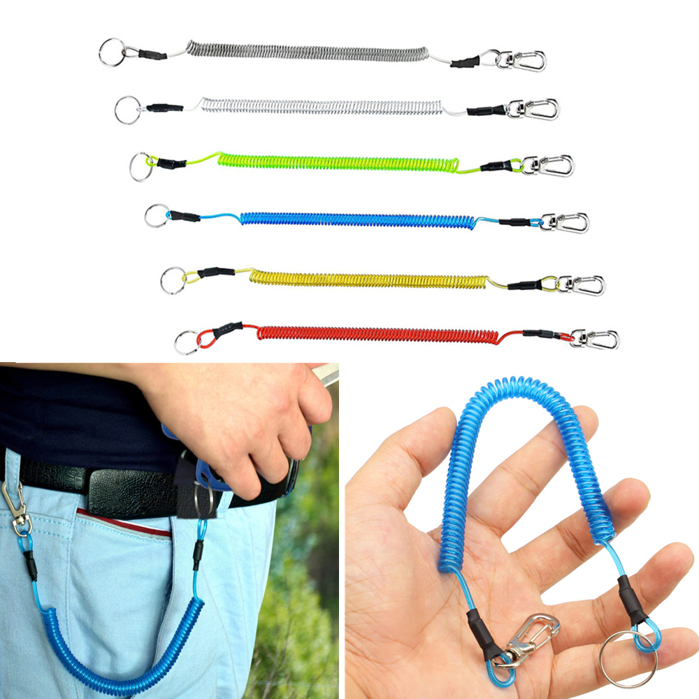 1Pc 1.2M Outdoor Carabiner Lure Wire Lost Rope Fishing Gear Spring Rope Key Anti-lost Lanyard Metal Stainless Steel Keychain