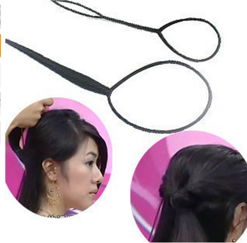 2pcs/Set Hair Braid Maker Ponytail Creator Plastic Loop Styling Tools Black Topsy Pony Tail Clip Styling Tool image