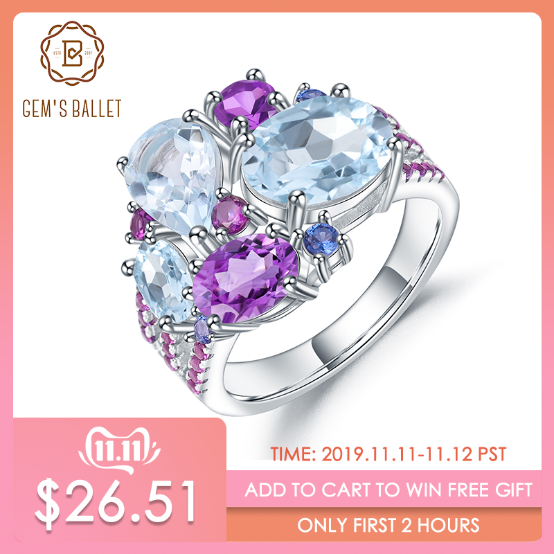 GEM'S BALLET Real 925 Sterling Silver Candy Gemstone Ring Natural Sky Blue Topaz Amethyst Rings For Women Fine Jewelry