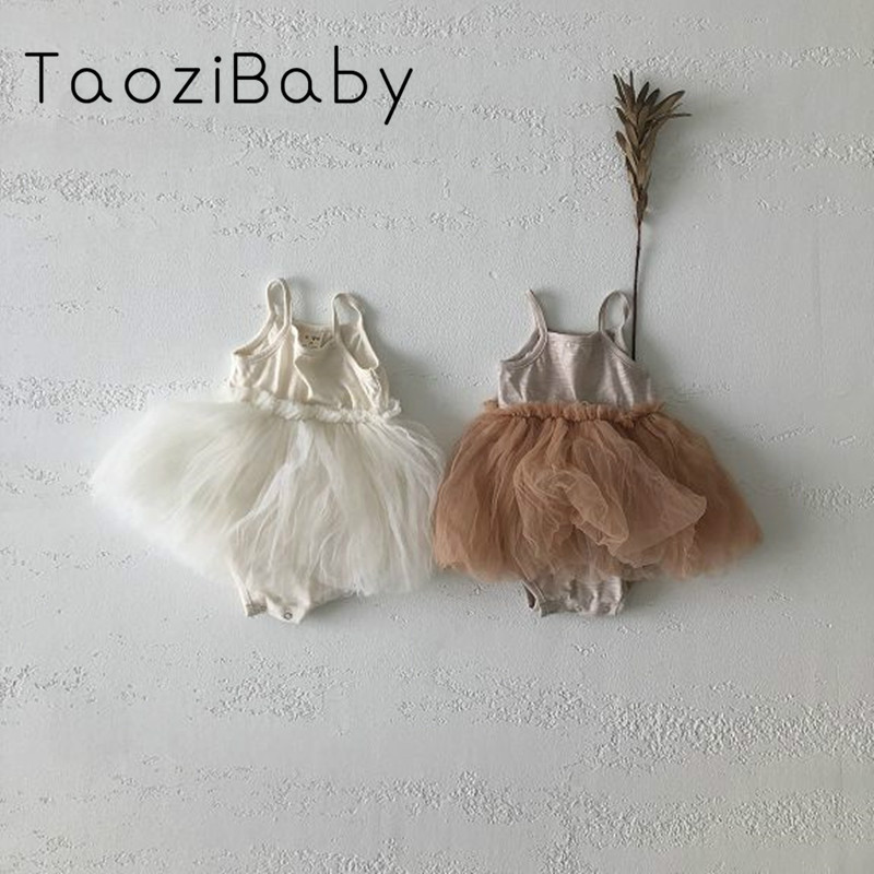 Korean Children's Clothing 2020 New Summer Baby Rompers Dress Mesh Cotton Rompers Girl Baby Summer New Suspender Dress