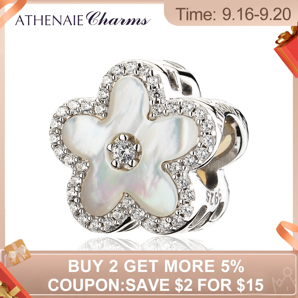 ATHENAIE 925 Sterling Silver Clear CZ Fritillaria Shell Peach blossom Beads Charms Fit Bracelets For Women
