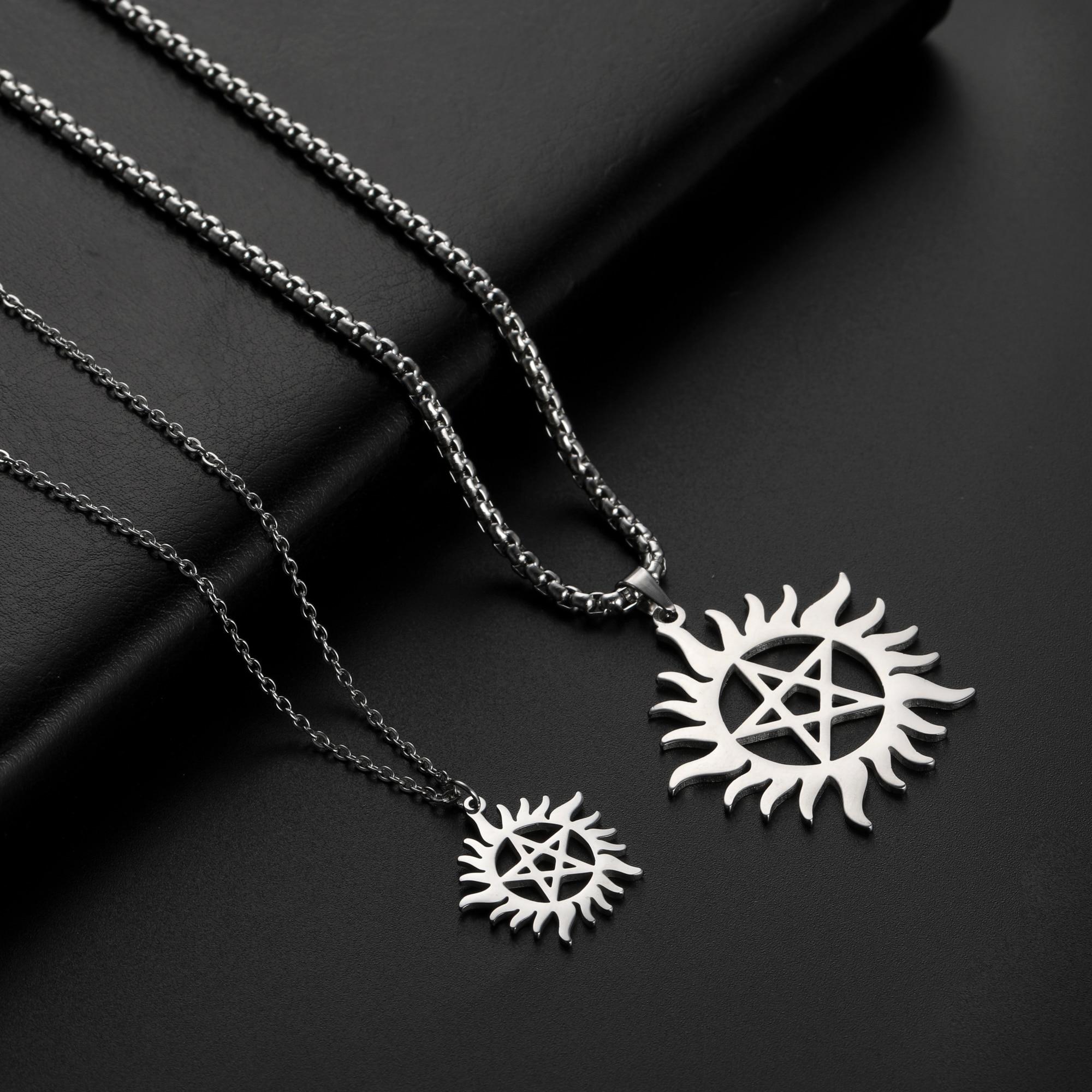 Skyrim Stainless Steel Shining Sun Pentagram Pendant Necklace Supernatural Dean Statement Box Chain Necklaces Jewelry Women Men