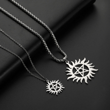 Skyrim Stainless Steel Shining Sun Pentagram Pendant Necklace Supernatural Dean Statement Box Chain Necklaces Jewelry Women Men