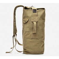 Casual Solid Color Sports Travel Duffle Bags Outdoor Canvas Barrel Shape Backpack