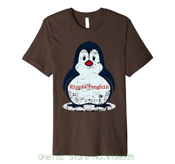 Distressed Funny Hippie Penguin T-shirt Good Quality Brand Cotton Shirt Summer Style Cool Shirts