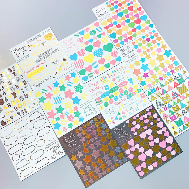 1sheet Glitter Stars Hearts Stickers Kids Toy Stickers DIY Label Decoration Stciker For Student Diary Scrapbooking Photo Albums