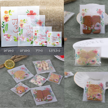 100Pcs Thank You Flower Design Candy Cookie Gift Packing Bags Self-adhesive Plastic Bags Snacks Biscuits Bags image