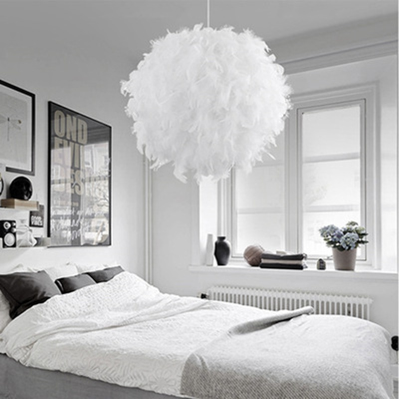 30CM White Feather Shade Droplight Lamp Hanging Ball Bedroom LED Ceiling Light KYY1008