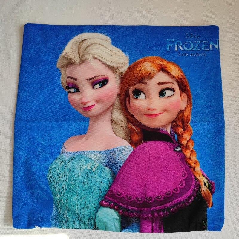 Housse de coussin 2 pièces de dessin animé | Disney Elsa Anna, princesse des neiges, décoration/sieste sur canapé de chambre, cadeau d'anniversaire pour bébés filles