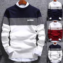 Модный мужской вязаный свитер с круглым вырезом и длинным рукавом, цветной блок, повседневный теплый мужской свитер из полиэстера и спандекса