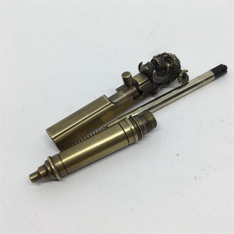 mão antiga caneta tática de bronze, parafuso