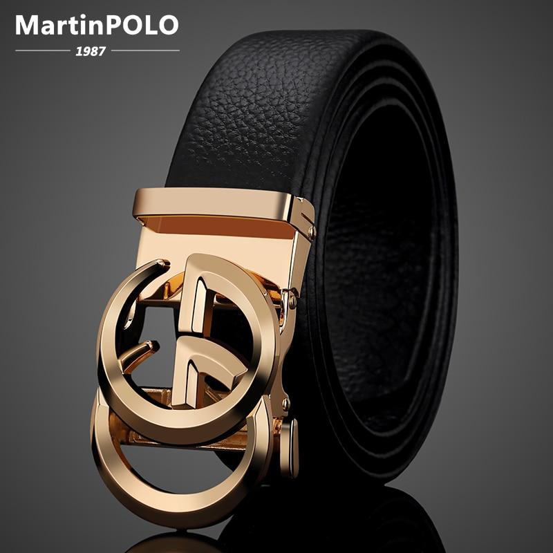MartinPOLO Genuine Leather Men's Belt Cowskin Male Strap Luxury Designer Belts Alloy Automatic Buckle GG Belt Fashion MP3101P