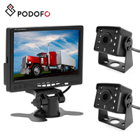 Podofo 7'' car Monitor Bus reversing TFT LCD HD widescreen 12 IRs night vision 120 Degree Wide Viewing with Dual Backup Cameras