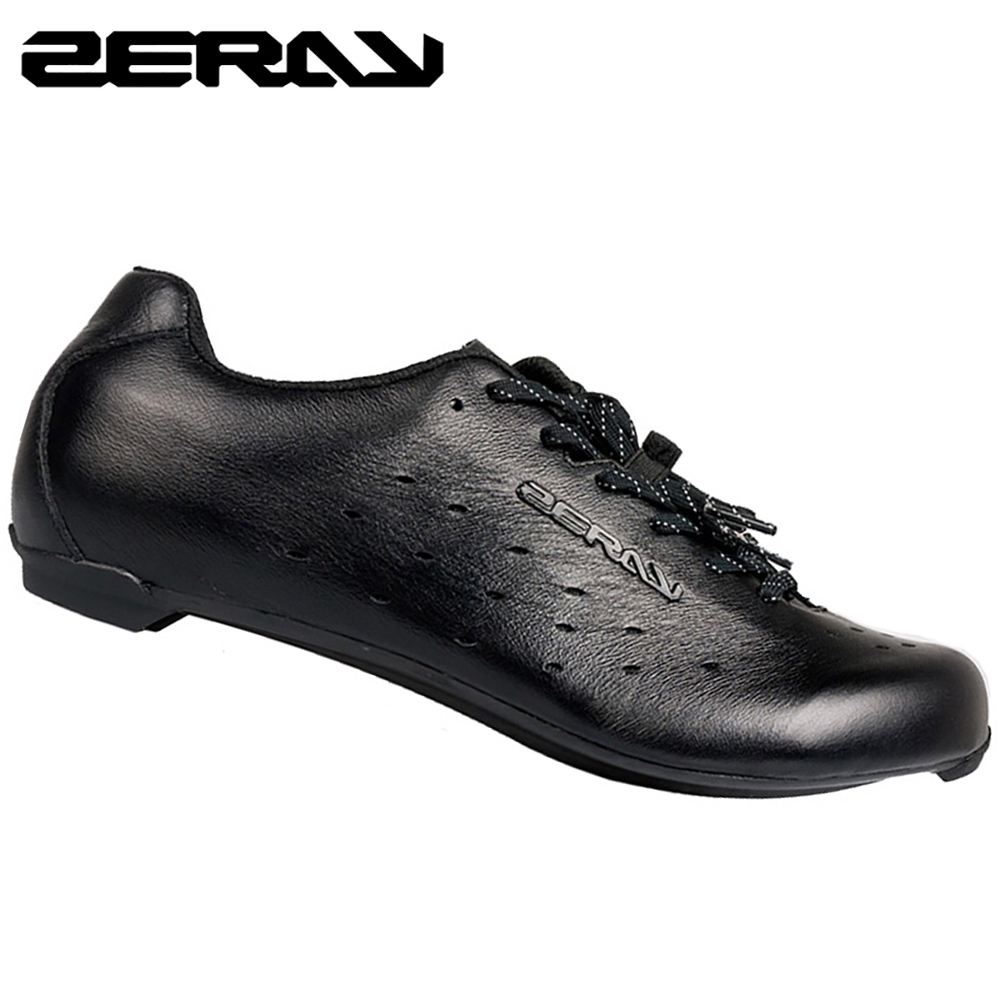 ZERAY Carbon Fiber Sole Cycling Shoes Pure Leather Bicycle Sneakers Professional Racing Athletic Breathable Black Shoe EP110