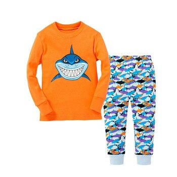 100 Cotton Boys and Girls Long Sleeve Pajamas Sets Children's Sleepwear Kids Christmas Pijamas Infantil Homewear Nightwear - P032, 8