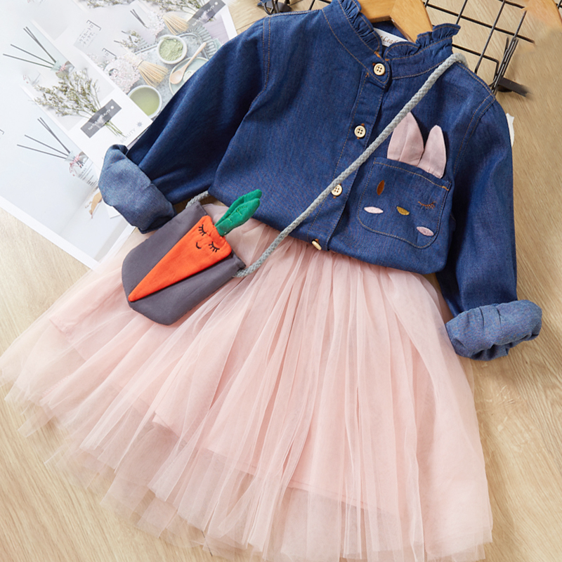 Menoea Children Clothing Suits 19 Autumn Fashion Style Girl Cowboy Long-Sleeve Mesh Dress Design For 3-8Y Kids Girls Sets 19