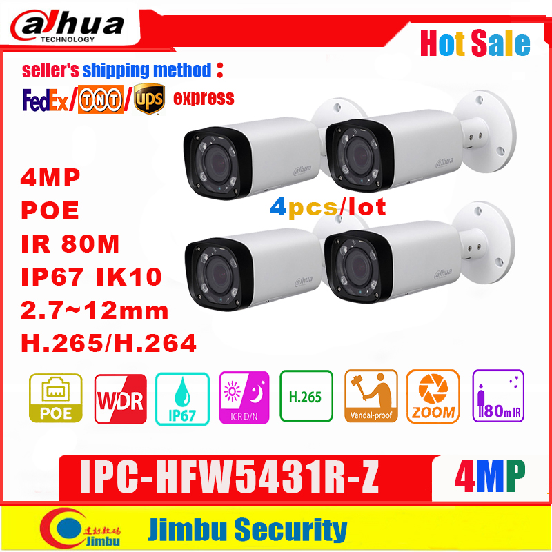 <font><b>Dahua</b></font> <font><b>4MP</b></font> <font><b>IP</b></font> <font><b>Camera</b></font> POE IPC-HFW5431R-Z replace IPC-HFW4431R-Z 2.8-12mm 4pcs/lot Varifocal Motorized Len H.265 / H.264 IR80M image