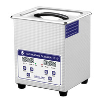 SKYMEN Digital 1 2L 60w Ultrasonic Cleaner with Heating Timer Bath Basket Sonic Solution for Cutters Tools Metal Silver Parts