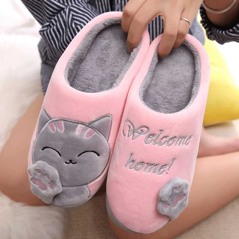 Dropshipping Women Winter Home Slippers Cartoon Cat Shoes Soft Winter Warm House Slippers Indoor Bedroom Lovers Couples