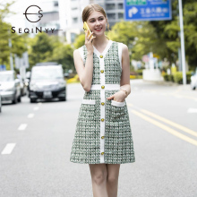 SEQINYY Green Tweed Dress 2020 Summer Spring New Fashion Design Plaid High Quality Women Slim Mini Vest
