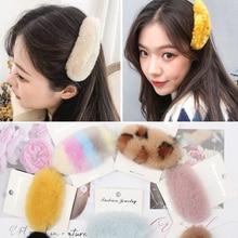 1 Pc Women Plush Hair Clips for Girls Fleece Leopard Hairpins BB Barrettes Winter Fashion Clip Korean Accessories